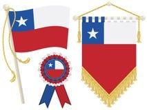 chile flaggor royaltyfri illustrationer
