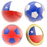 Chile football team attributes isolated. Chile football team set of four soccer ball attributes isolated on white Stock Photography