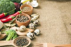 Chile, garlic, onions, broccoli, coriander, mushrooms, olive oil Royalty Free Stock Image