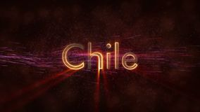 Chile - glänzende Schleifungsländername-Textanimation vektor abbildung