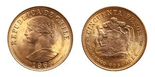 Chile gold coin 50 pesos 1966. Republic of chile, conservation in mint stock photography