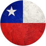chile grunge bandery Chilijska guzik flaga Odizolowywająca na białym backgro ilustracja wektor