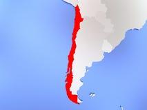 Chile im Rot auf Karte lizenzfreie abbildung