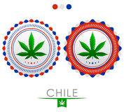 Chile marijuana emblem - cannabis seal of approval with the colors of the flag of Chile Stock Photography