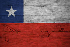 Chile national flag painted old oak wood Stock Photography