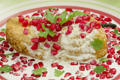 Chile Nogada Mexican Dish. Chile en Nogada Mexican dish made from a poblano chile with a fried egg cover, walnut sauce and pomegranate seeds for flavor Royalty Free Stock Photography