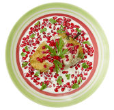 Chile Nogada Mexican Dish Top View. Chile en Nogada Mexican dish made from a poblano chile with a fried egg cover, walnut sauce and pomegranate seeds for flavor Stock Photography