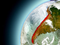 Chile from orbit of model Earth Royalty Free Stock Image