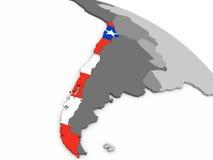 Chile på jordklotet med flaggan stock illustrationer