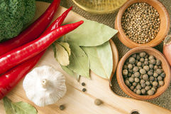 Chile pepper, garlic, onions, broccoli, coriander, cloves, olive Stock Images