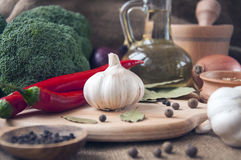 Chile pepper, garlic, onions, broccoli, coriander, cloves, olive Royalty Free Stock Photography