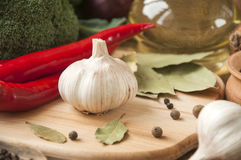 Chile pepper, garlic, onions, broccoli, coriander, cloves, olive Royalty Free Stock Photo