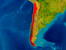 Chile on physical map Royalty Free Stock Photos