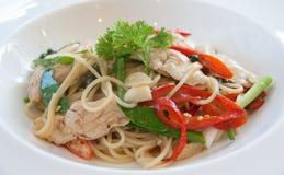 Chile picante de los espaguetis con el pollo Imagen de archivo libre de regalías