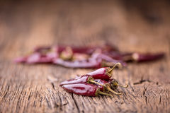 Chile pimientas de chile rojo en la tabla de madera Foco selectivo Fotos de archivo libres de regalías