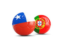 Chile and Portugal soccer balls isolated on white background. 3D illustration Stock Photos
