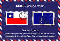 Chile Postage stamp, vintage stamp, air mail envelope. Royalty Free Stock Photos