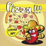 Chile röd peppar och pizza Arkivbild