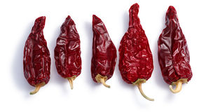 Chile seco del norte, paths, top view. Chiles seco del norte, a ripe dried Anaheim peppers. Clipping paths, shadows separated, top view royalty free stock photography