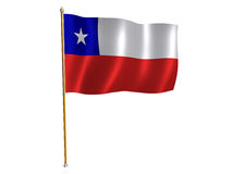 Chile silk flag. Silk flag of Chile stock illustration