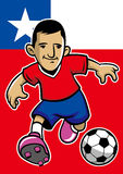 Chile soccer player with flag background Stock Photography