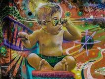 Chile Street Art dziecka chłodno graffiti obraz stock