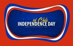 chile Tarjeta de felicitación del Día de la Independencia estilo del corte del papel stock de ilustración