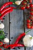 Chile, tomate y ajo Imágenes de archivo libres de regalías
