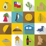 Chile travel icons set, flat style Royalty Free Stock Images