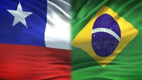 Chile- und Brasilien-Flaggenhintergrund-, diplomatische und Wirtschaftsbeziehungen, Geschäft lizenzfreie abbildung