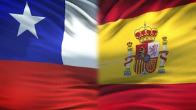 Chile- und Spanien-Flaggenhintergrund-, diplomatische und Wirtschaftsbeziehungen, Geschäft vektor abbildung