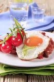 Chile vegetariano y huevo frito Fotografía de archivo