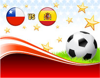 Chile versus Spain on Abstract Red Background with Stars Royalty Free Stock Photography