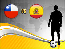 Chile versus Spain on Abstract World Map Background Stock Image