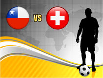 Chile versus Switzerland on Abstract World Map Background Stock Image