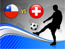 Chile versus Switzerland on Blue Abstract World Map Background Royalty Free Stock Photos