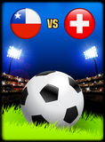 Chile versus Switzerland on Soccer Stadium Event Background Royalty Free Stock Photo
