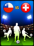 Chile versus Switzerland on Stadium Event Background Stock Photos