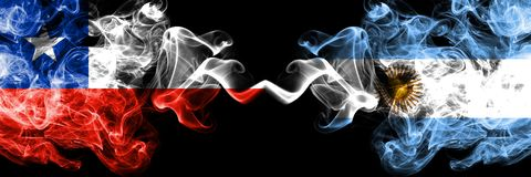 Chile vs Argentina, Argentinian smoky mystic flags placed side by side. Thick colored silky smokes combination of Argentina,. Argentinian and Chilean flag royalty free illustration