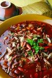 Chile y sangre del estómago y del pato del cerdo Foto de archivo