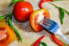 Chile y tomate Imagen de archivo libre de regalías