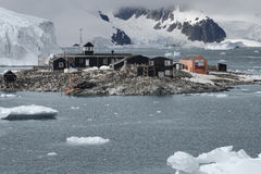 Chilean Antarctic Research base Gonzalez Videla. Situated on the Antarctic Peninsula at Paradise Bay Royalty Free Stock Photo