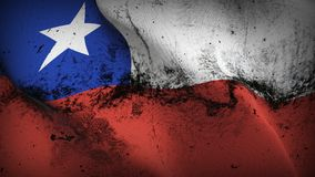 Chile grunge dirty flag waving on wind. Chilean background fullscreen grease flag blowing on wind. Realistic filth fabric texture on windy day Stock Photos