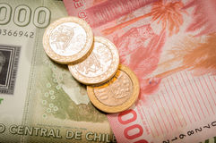 Chilean coins and bills Royalty Free Stock Photo