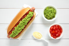 Chilean Completo Italiano Hotdog Sandwich Stock Photography