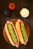 Chilean Completo Italiano Hotdog Sandwich Stock Photos