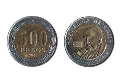 Chilean currency of five hundred pesos Stock Photos