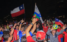 Chilean Fans Celebrate Victory over Spain. Royalty Free Stock Photography