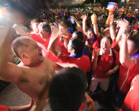 Chilean Fans Celebrate Victory over Spain. Royalty Free Stock Image