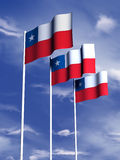 Chilean flag. The flag of Chile flies in a gentle breeze royalty free illustration